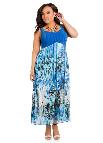 Pintuck Chiffon Maxi Dress