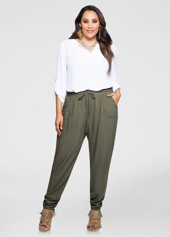 Ruched Leg Slouchy Pant