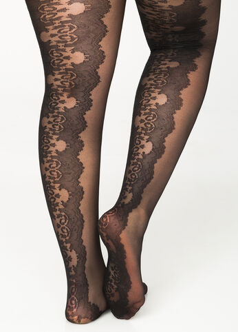 Sheer Lace Backseam Footed Tights