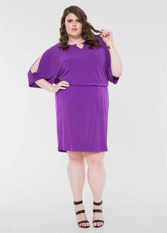 Slit Sleeve Blouson Dress