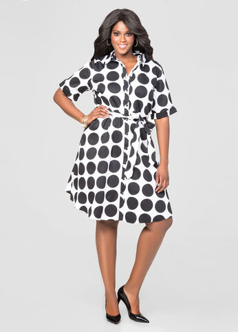 Polka Dot A-Line Shirt Dress