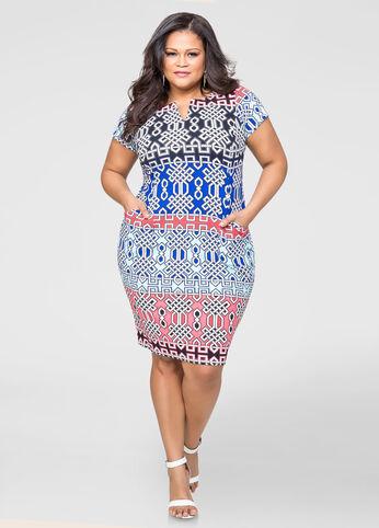 Bold Print Shift Dress