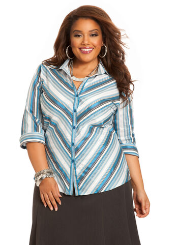 Signature Striped Button Down Top