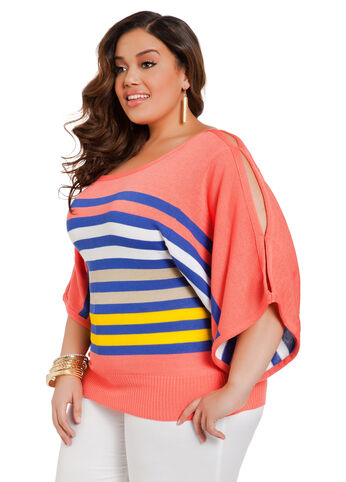 Multi Stripe Dolman Sleeve Sweater