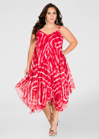 Tie Dye Flowy Hanky Hem Dress