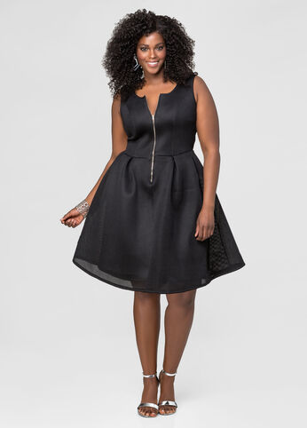 Mesh Neoprene Skater Dress