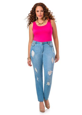 Lace Insert Destructed Jeans