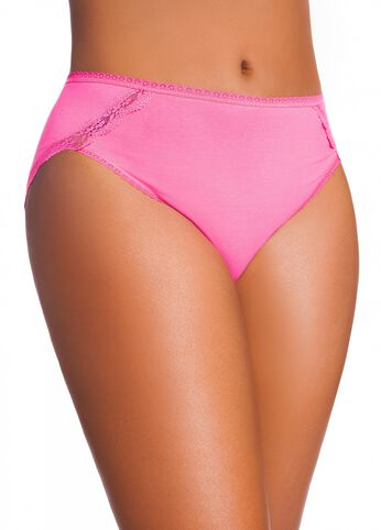 Cotton Bikini with Lace Trim Detail