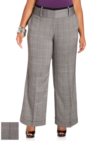 Cuffed Plaid Pants