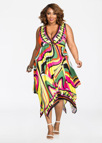 Printed Surplice Hanky Hem Dress
