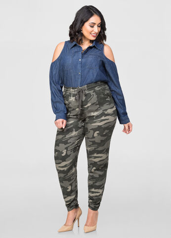 Camo Ruched Leg Slouchy Pant