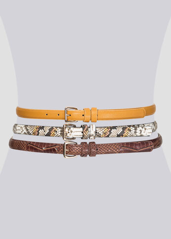 Snake Embossed Belt Trio