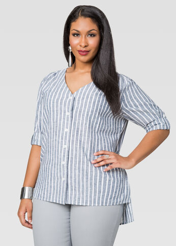 Striped Linen Chambray Shirt
