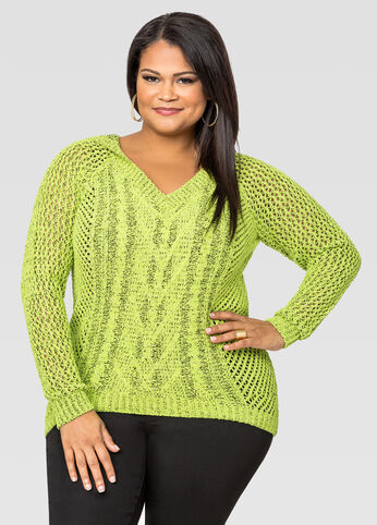 Hooded Chenille Pullover Sweater