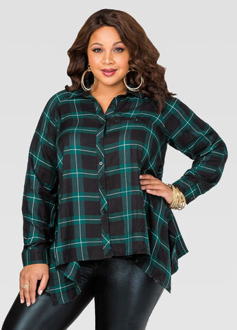 Plaid Hanky Hem Shirt