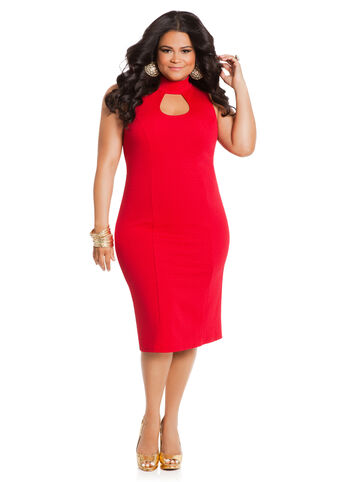 Textured Peekaboo Middy Dress