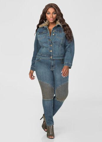 Moto Stitch Knee Skinny Jean