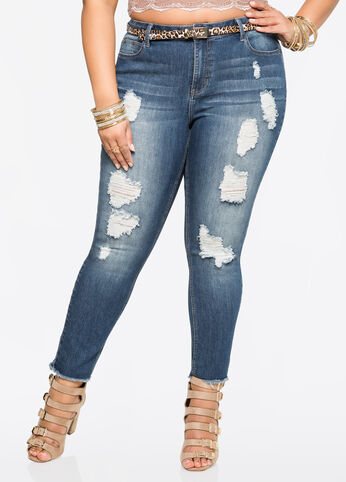 Frayed Hem Destructed Skinny Jean