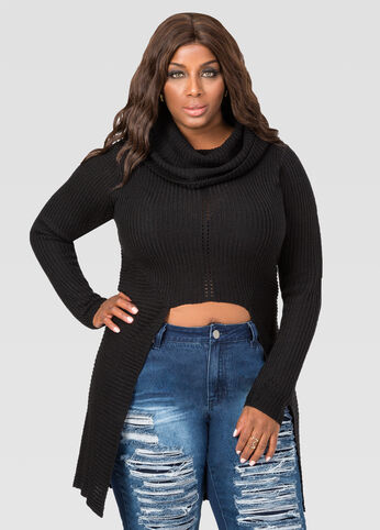 Cut Out Cowl Duster Sweater