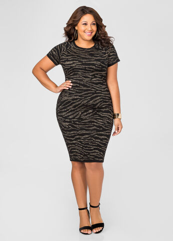 Metallic Zebra Bodycon Sweater Dress