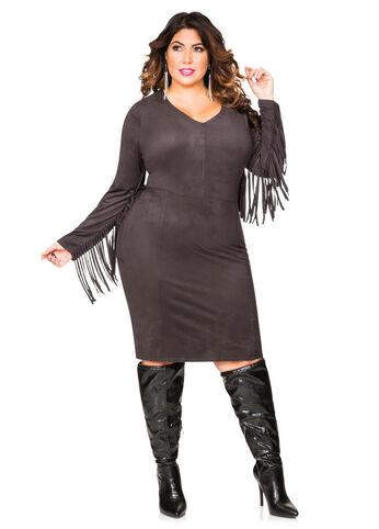 Faux Suede Fringe Sleeve Dress