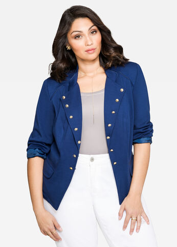 Gold Button Military Blazer