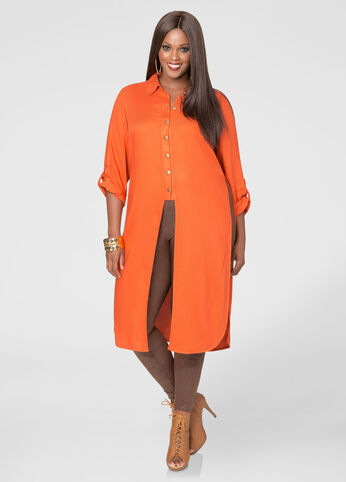 Knot Front Twill Duster