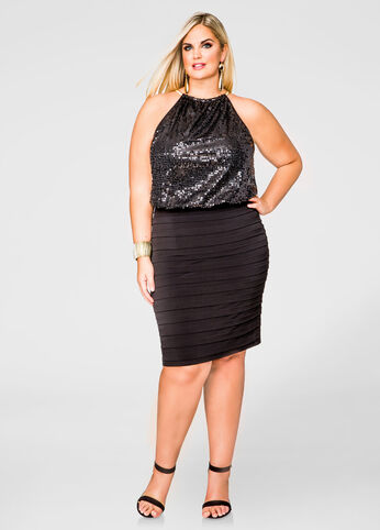 Blouson Sequin Halter Dress