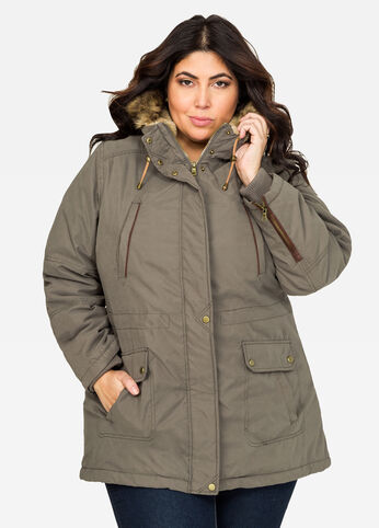 Sueded Hooded Parka Winter Coat Olive - Outerwear