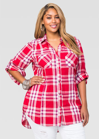 Hi-Lo Plaid Shirt