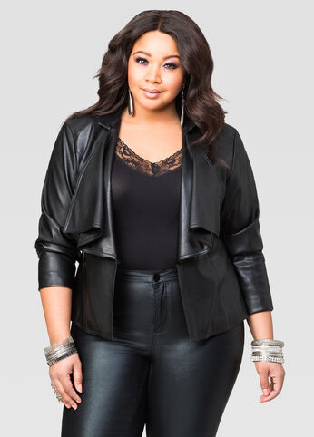 Cascade Front Faux Leather Jacket