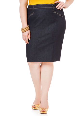 Career Denim Pencil Skirt
