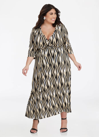 Geo Print Surplice Maxi Dress