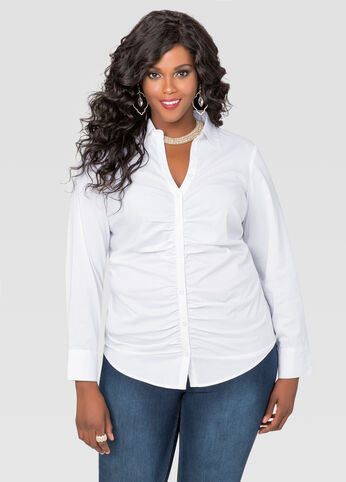 Ruched V-Neck Button Front Shirt
