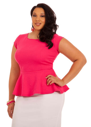 Cap Sleeve Solid Peplum Top
