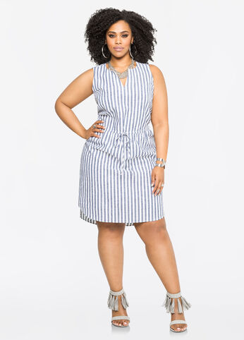 Striped Drawstring Linen Shirtdress
