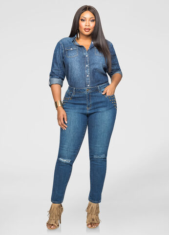 Destructed Knee Stud Pocket Skinny Jean