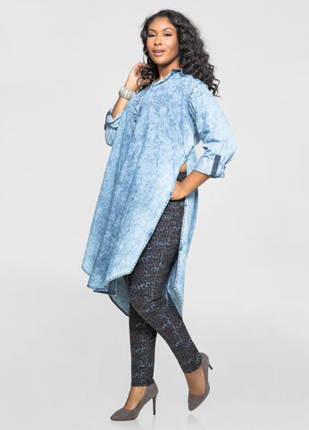 Marble Wash Denim Duster