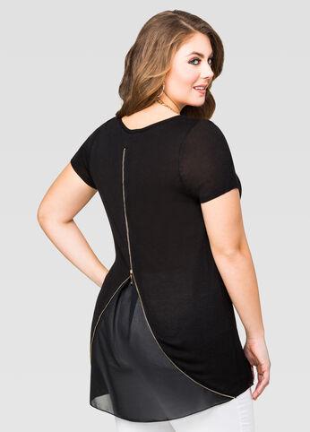 Short Sleeve Solid Zip Back Sweater