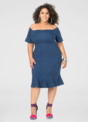 Off-Shoulder Jean Dress