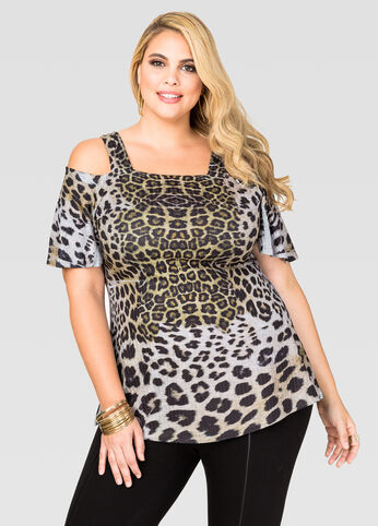 Leopard Cold Shoulder Tee