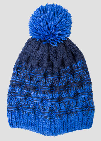 Marled Colorblock Pom Beanie Hat at Ashley Stewart