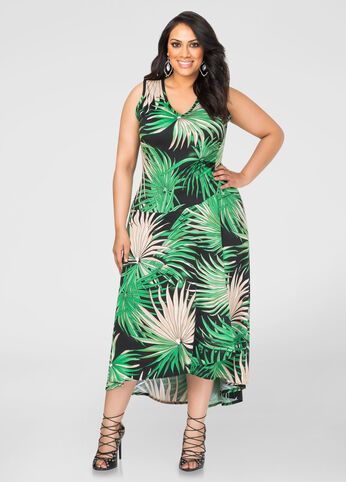 Palm Print Hi-Lo Maxi Dress