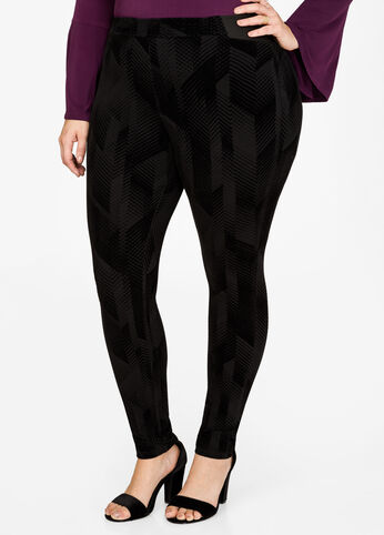Chevron Velvet Flocked Legging