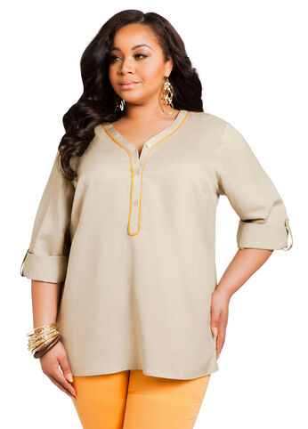 V-Neck Linen Tunic Top