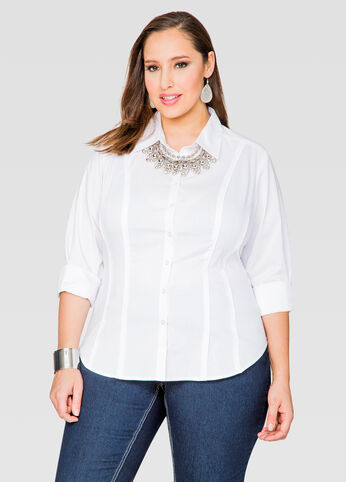 Solid Piped Button Front Shirt