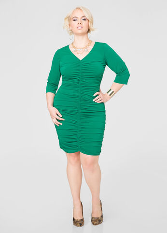 Ruched Front Hi-Lo Dress