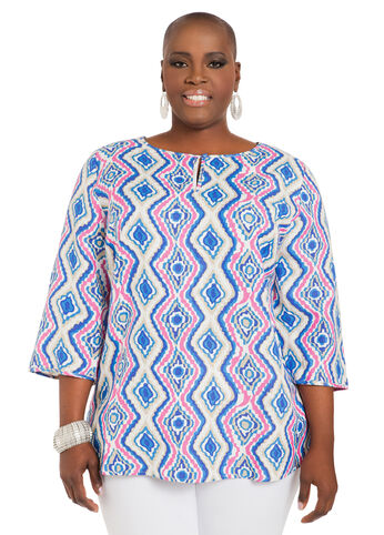 Printed Linen  Tunic Top