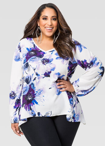 Floral Split Back Blouse