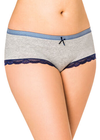 Stripe Waistband Lace Trim Hipster Panty